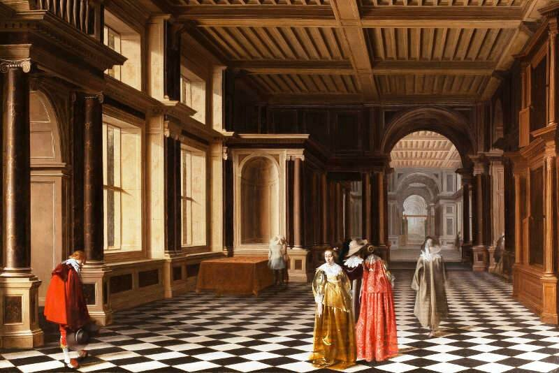 Willemsz Pieter Van der Stock, Willem Cornelisz Duyster, Elegant Figures in a Classical Colonaded Gallery, 1632