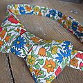 Véritable NOEUD PAPillon en Liberty fleuri jaune bleu rouge orange (1)
