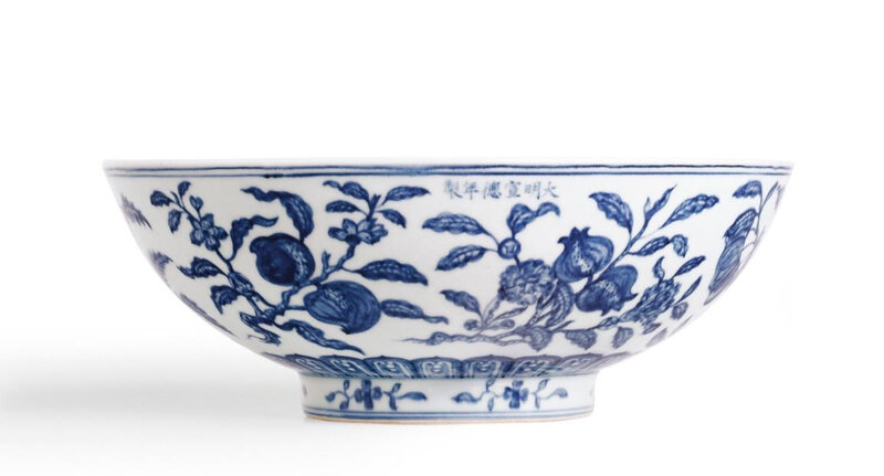 From the Meiyintang collection, A rare large blue and white 'fruit spray' bowl, mark and period of Xuande (1426-1435)