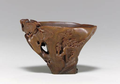 A landscape-carved rhinoceros horn libation cup, 17th-18th century