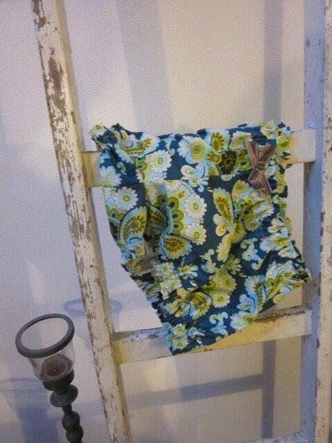 Culotte en coton wallpaper vintage vert et noeud assorti - taille S (1)