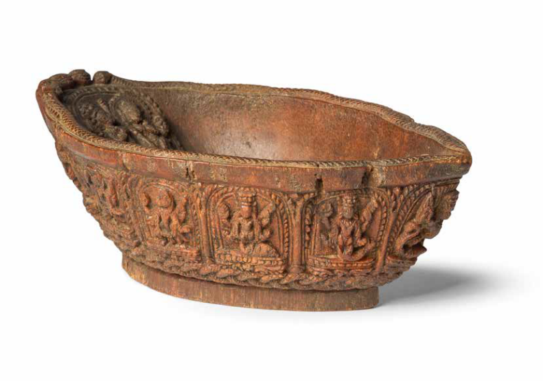 A rare and large rhinoceros horn 'Vaishnava' bowl, Nepal, 17th-18th century