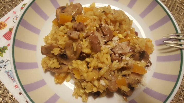 risotto au safran, butternut et champignons!!