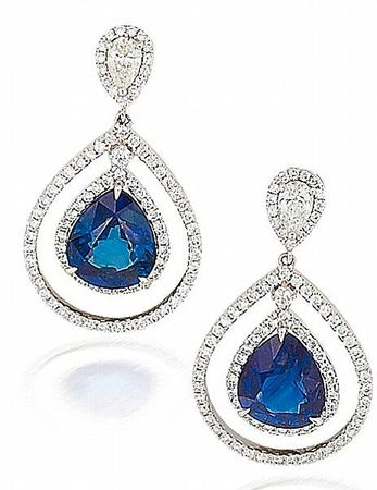 A_pair_of_sapphire_and_diamond_pendent_earrings