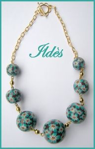 fimo_collier_boules_fleuries_choco_turquoise_1