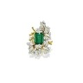 Emerald and diamond brooch, cartier