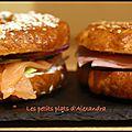 Bagel au saumon fumé et bagel au jambon