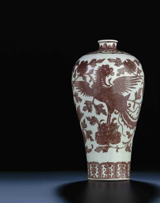 A fine and rare copper-red decorated baluster vase,meiping, Qing dynasty, 18th century