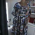 Robe RAYMONDE en coton imprimé ''belle comme un camion'' - manches raglan - longueur genoux - taille unique (15)