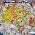 Salade de pâtes au poulet et fourme d 'ambert