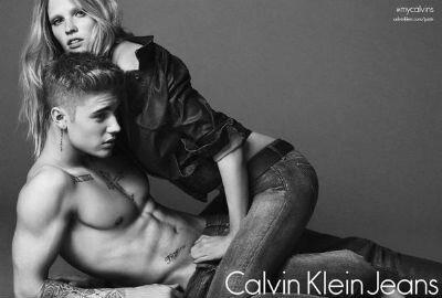 Justin Bieber Lara Stone par Mert Alas et Marcus Piggott pour Clavin Klein