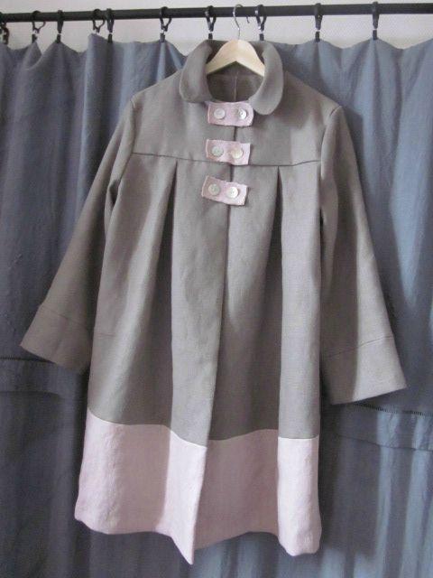 manteau d'été bicolore en lin gris et rose (2)