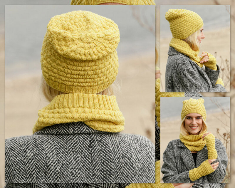 ENSEMBLE DROPS BONNET SNOOD MITAINES