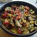 Filets de bonite aux pommes de terre et poivronnade au four