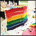 Blue layer cake et rainbow cake