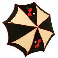 Parapluie Pagode 1 pointe polyuréthane/noir coquelicot