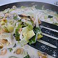 Fondue de poireaux aux fruits de mer