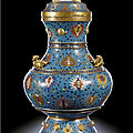 A large cloisonné enamel and gilt-bronze vase and cover, hu, ming dynasty, wanli period (1573-1620)