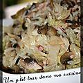 P'tit chou chinois mijoté, champignons et riz