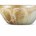 A pale celadon and russet jade 'lotus' bowl, song dynasty or later