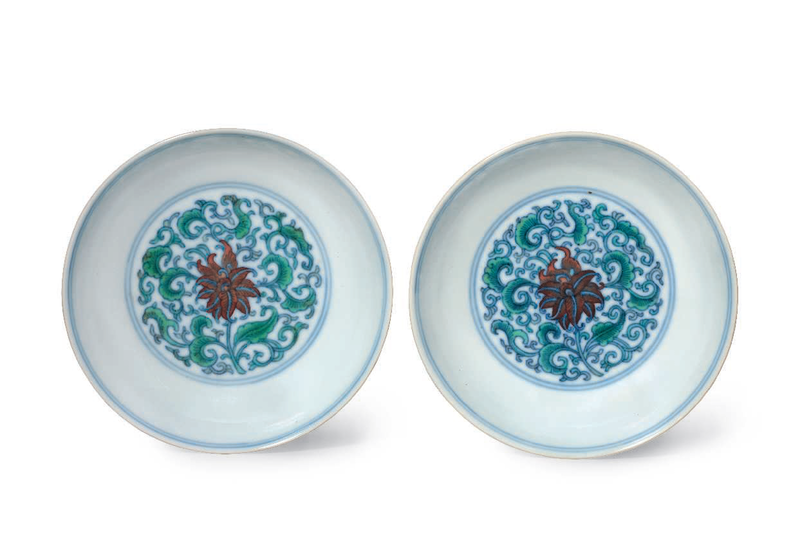 A fine pair of smalldoucaidishes, Yongzheng six-character marks in underglaze blue within a double circle and of the period (1723-1735)
