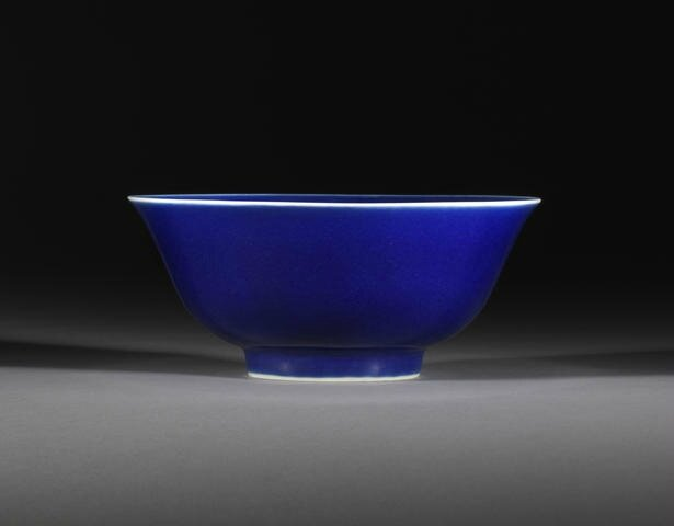 A 'sacrificial blue'-glazed bowl, Qianlong seal mark and of the period. Photo Bonhams.