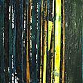 Forêt #15, 2011, acrylique, collage et coulures sur papier, 45 x 32 cm