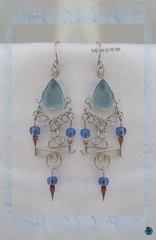 Boucles D'Oreilles Altéa Verre Murano Bleu Clair Argent D'Alpaca Artisanat Du Pérou