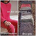 Duo de pyjamas en duo ( = déstockage n°15 )