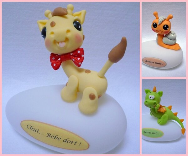 girafe, escargot, dragon en porcelaine froide