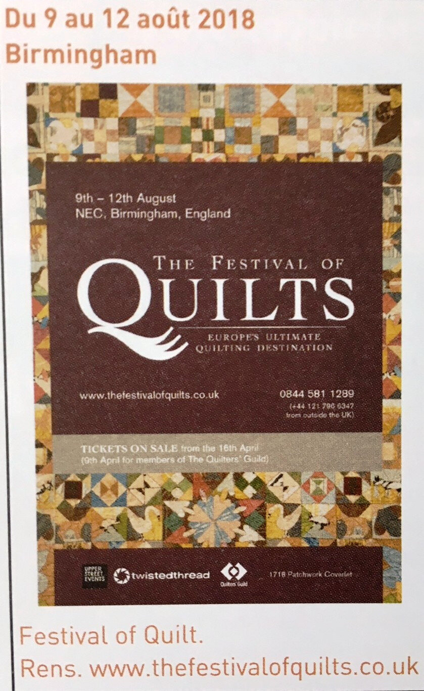 THE FESTIVAL OF QUILTS BIRMINGHAM 2018