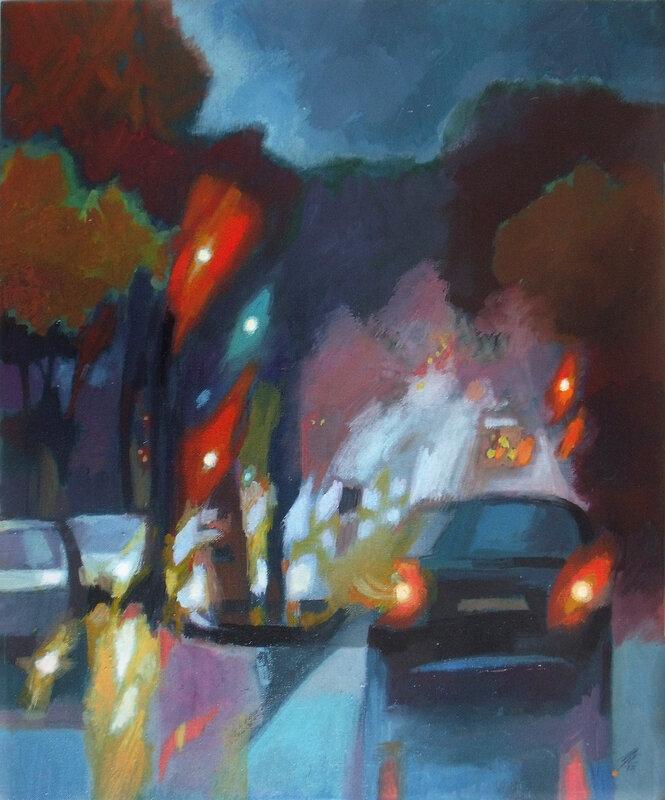 2014- Rue de Tolbiac, Nuit- Huile 61x50cm