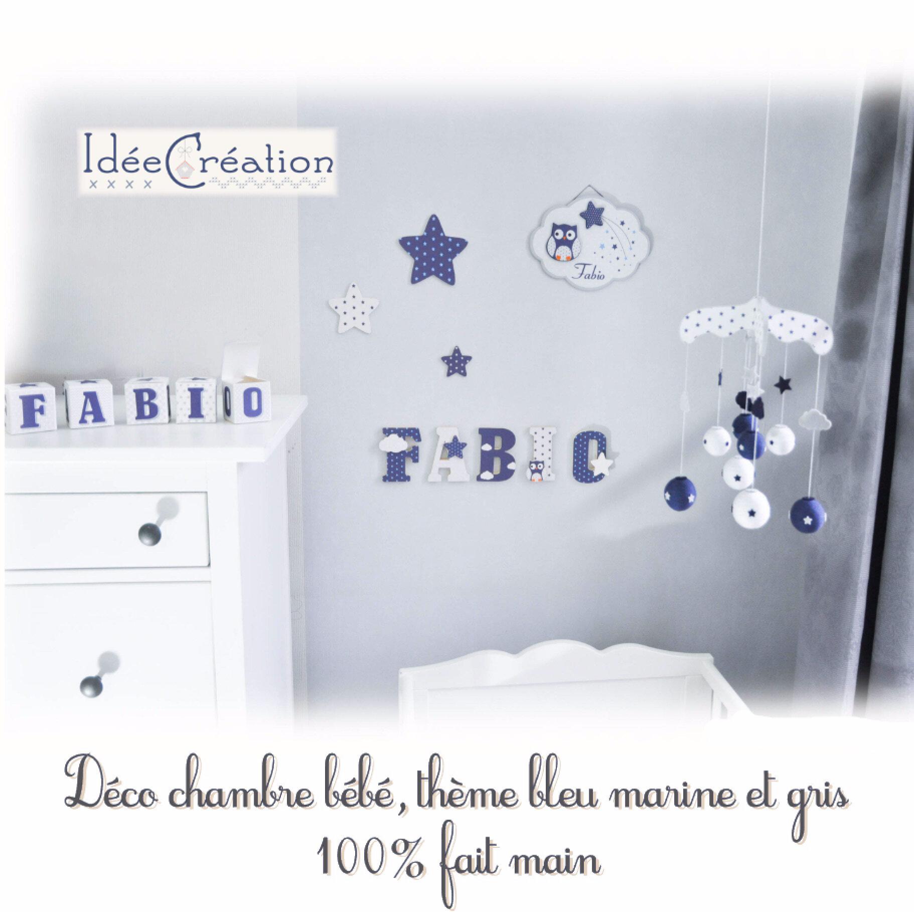 Déco chambre de bébé, thème bleu marine et gris, - IdéeCréation