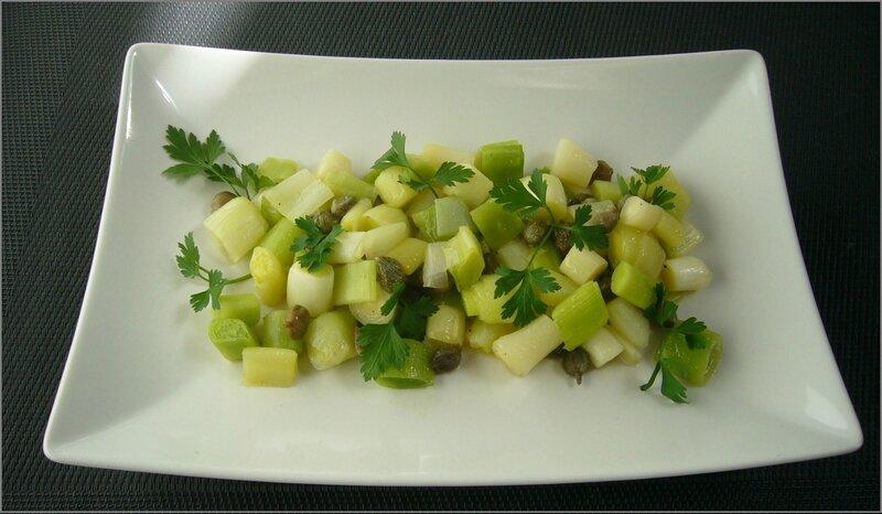 Salade tiède de jeunes poireaux aux câpres