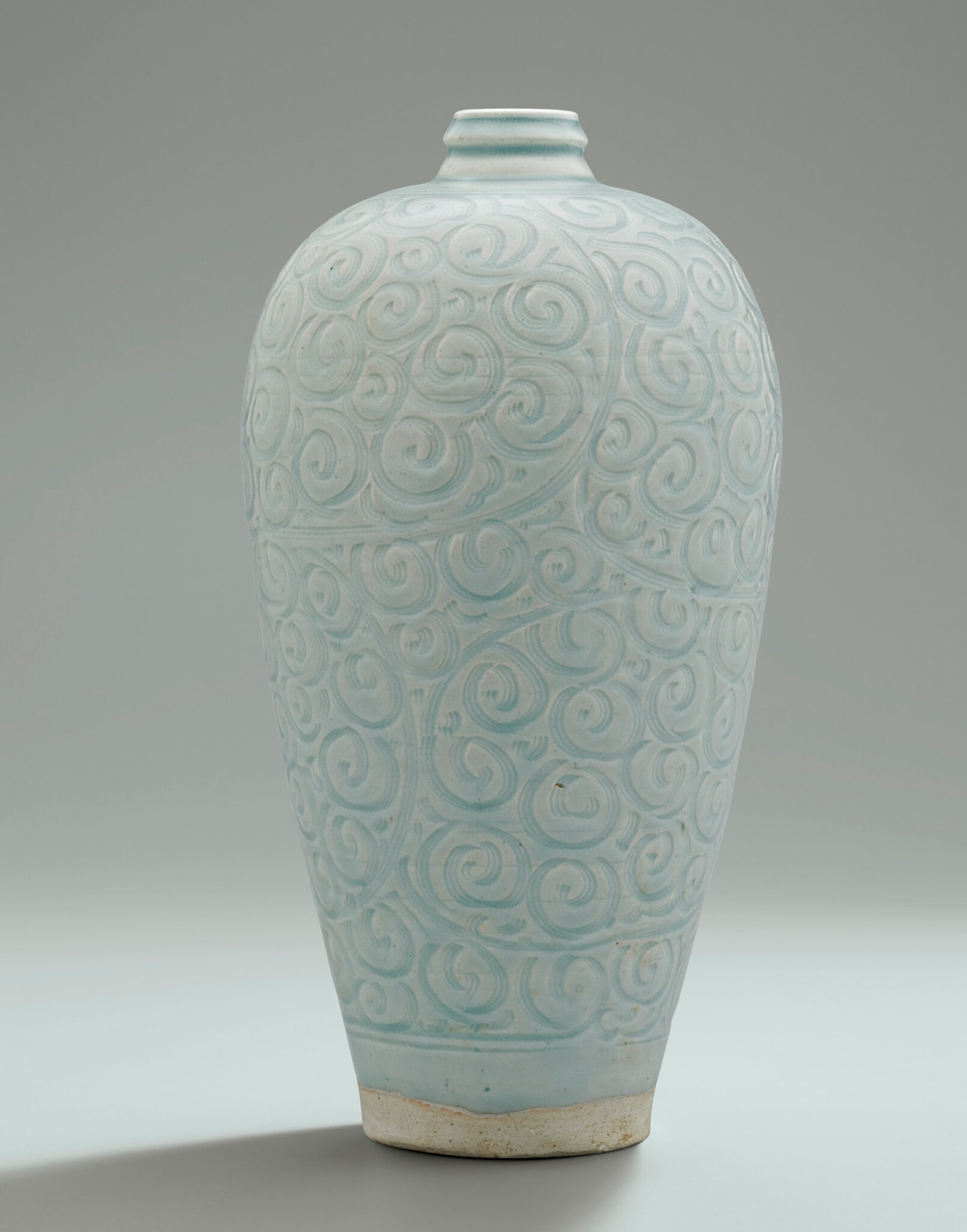 A rare large carved Qingbai vase, meiping, Southern Song Dynasty (1127-1279)