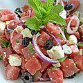 Salade de pastèque à la feta et aux olives noires