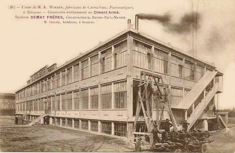 CPA Soissons Usine Wolber
