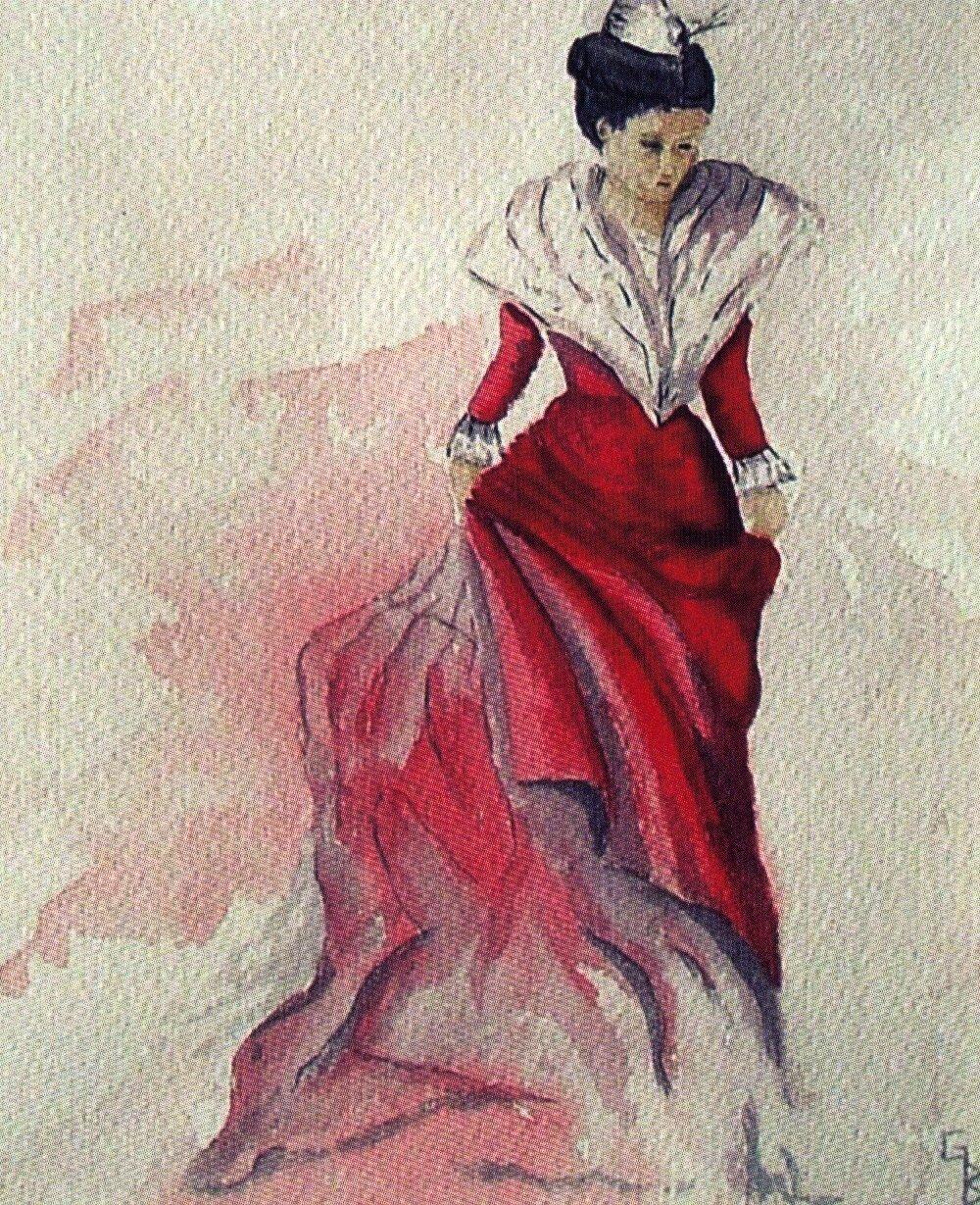 Arlésienne en robe rouge
