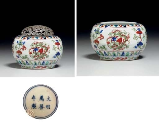 A_rare_wucai_globular_jar__Wanli_six_character_mark_in_underglaze_blue_within_a_double_circle_and_of_the_period__1573_1619_