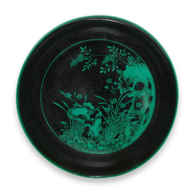 A rare green and black 'narcissus' dish, Yongzheng mark and period (1723-1735)