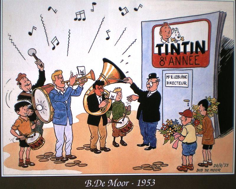 Hommage à Raymond Leblanc pour le 8è anniversaire du Journal Tintin (1953)