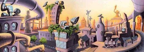 Decor ville bio eolienne pollution background cartoon illustrate
