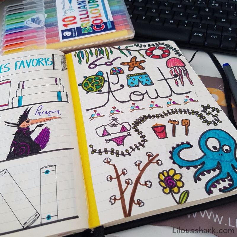 bullet journal décoration aout bujo
