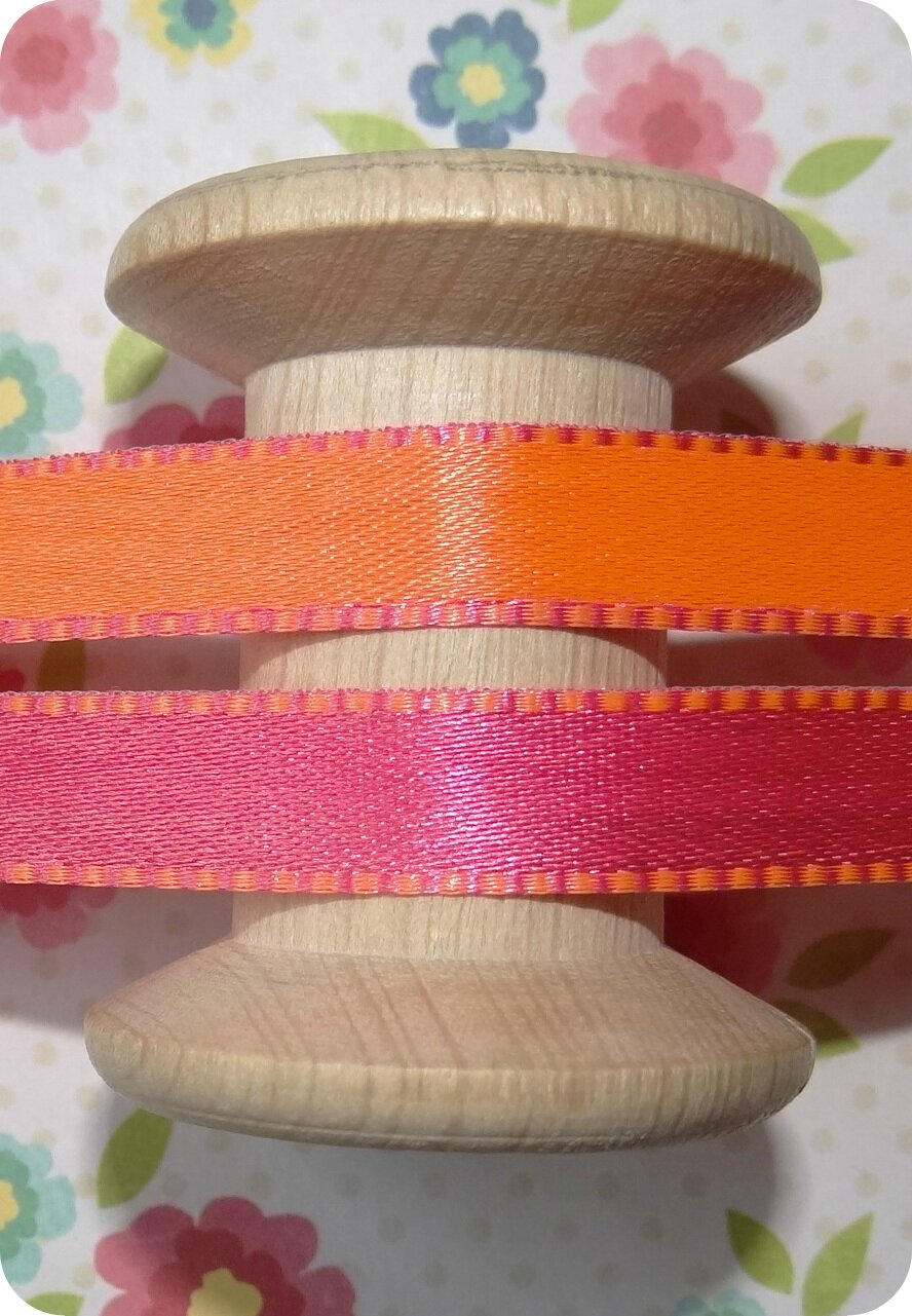 Ruban rose fluo et orange fluo