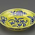Dish with spray of gardenias, 1506-1521, Ming dynasty, Zhengde reign. Porcelain with cobalt decoration under colorless glaze and enamel over the glaze, H: 4.5 W: 21.3 cm, Jingdezhen, China. Purchase F1953.7. Freer/Sackler © 2014 Smithsonian Institution