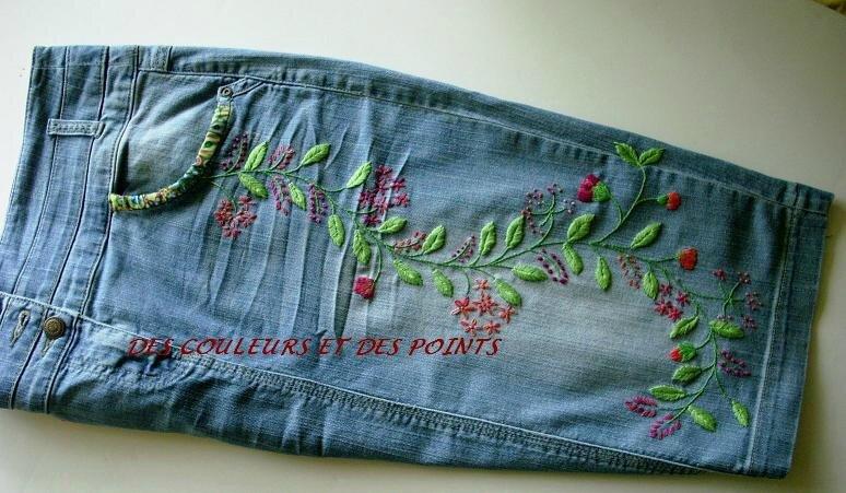 jupe jean's brodée bis
