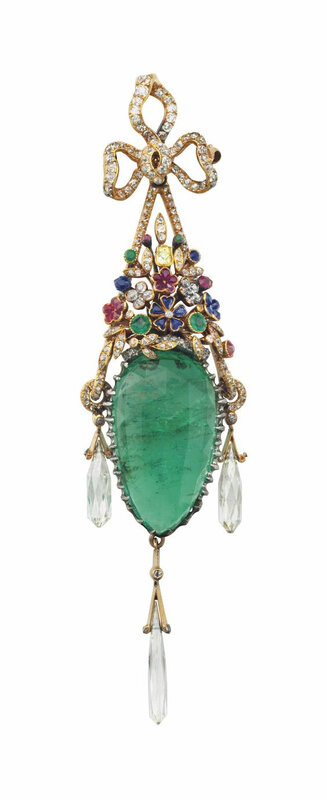 An antique multi-gem pendant brooch, by Frédéric Boucheron, circa 1890