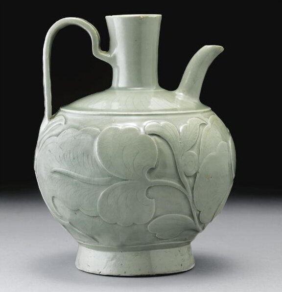 A rare early 'Yaozhou' relief-carved globular ewer, Five Dynasties-Northern Song Dynasty (907-1127)2 (2)