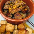 Porc confit a l'orange, celeri-rave caramelise au sirop d'erable