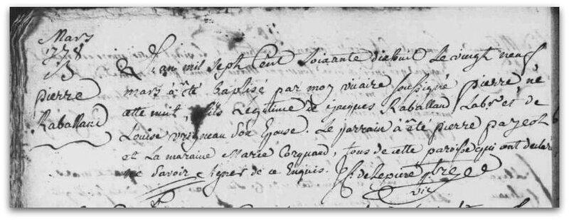 Pierre Raballand baptême 1778 z